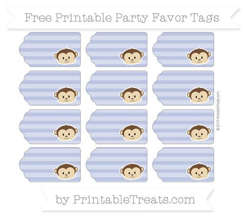 Free Pastel Dark Blue Horizontal Striped Boy Monkey Party Favor Tags