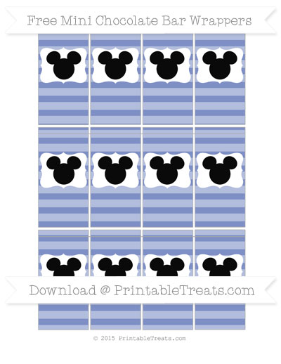 Free Pastel Dark Blue Horizontal Striped Mickey Mouse Mini Chocolate Bar Wrappers