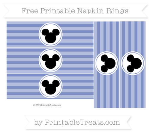 Free Pastel Dark Blue Horizontal Striped Mickey Mouse Napkin Rings