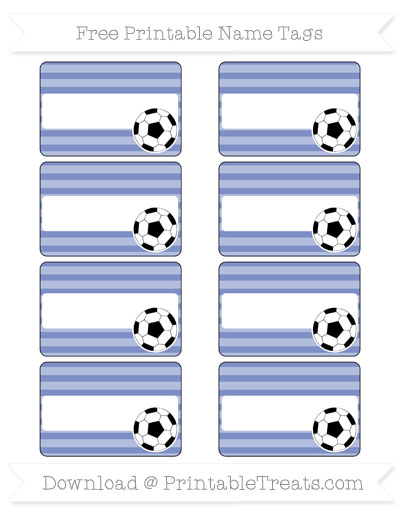 Free Pastel Dark Blue Horizontal Striped Soccer Name Tags