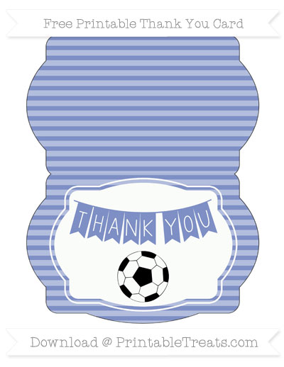 Free Pastel Dark Blue Horizontal Striped Soccer Thank You Card