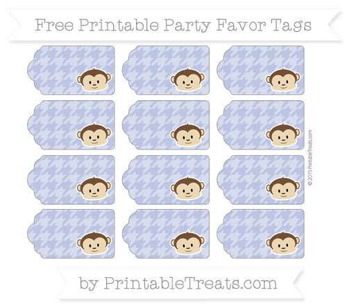 Free Pastel Dark Blue Houndstooth Pattern Boy Monkey Party Favor Tags