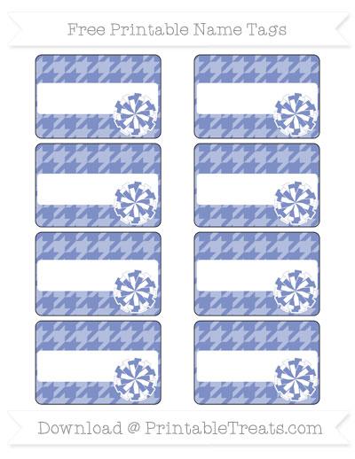 Free Pastel Dark Blue Houndstooth Pattern Cheer Pom Pom Tags