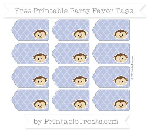 Free Pastel Dark Blue Moroccan Tile Boy Monkey Party Favor Tags
