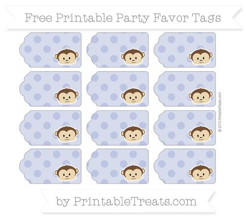 Free Pastel Dark Blue Polka Dot Boy Monkey Party Favor Tags