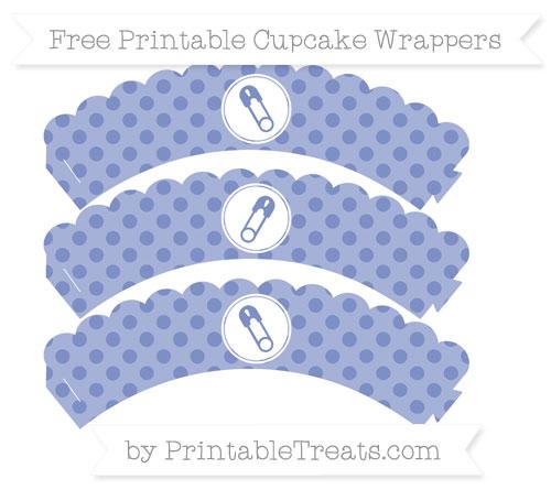 Free Pastel Dark Blue Polka Dot Diaper Pin Scalloped Cupcake Wrappers