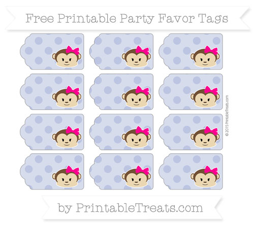 Free Pastel Dark Blue Polka Dot Girl Monkey Party Favor Tags