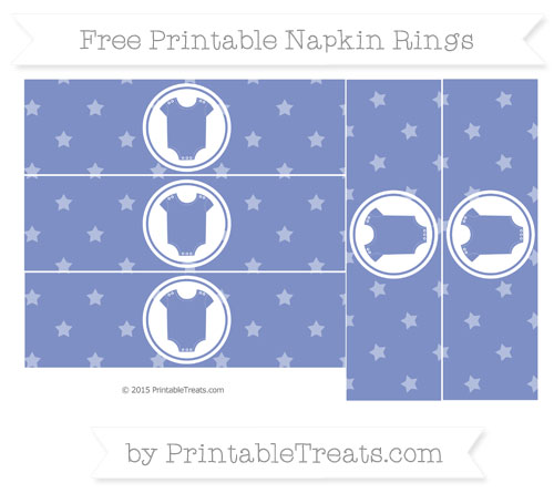 Free Pastel Dark Blue Star Pattern Baby Onesie Napkin Rings