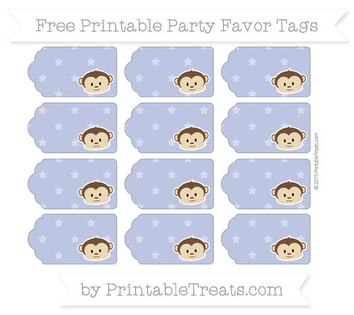 Free Pastel Dark Blue Star Pattern Boy Monkey Party Favor Tags