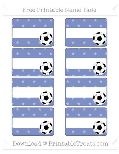 Free Pastel Dark Blue Star Pattern Soccer Name Tags