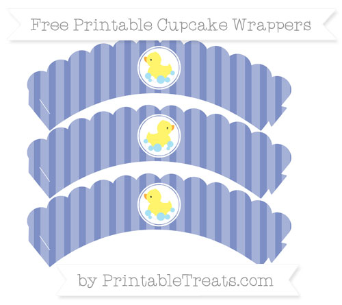 Free Pastel Dark Blue Striped Baby Duck Scalloped Cupcake Wrappers