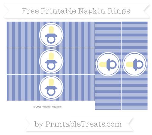 Free Pastel Dark Blue Striped Baby Pacifier Napkin Rings
