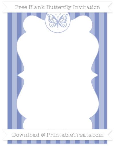 Free Pastel Dark Blue Striped Blank Butterfly Invitation