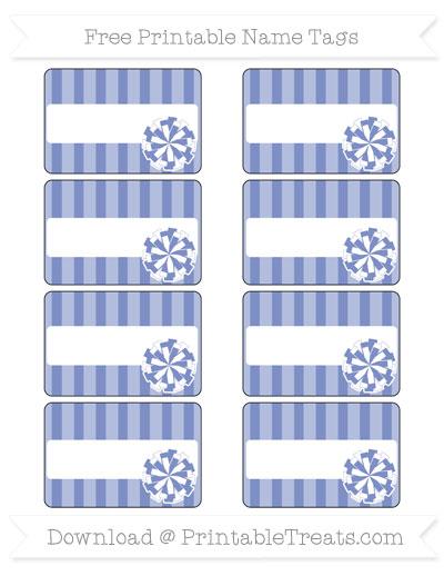 Free Pastel Dark Blue Striped Cheer Pom Pom Tags