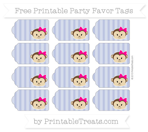 Free Pastel Dark Blue Striped Girl Monkey Party Favor Tags