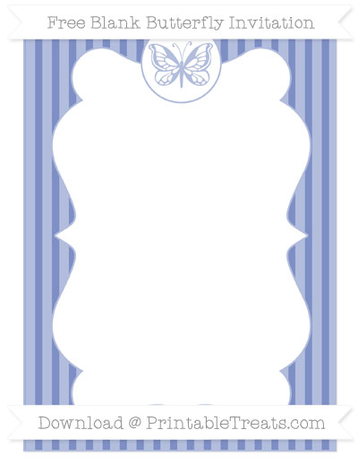 Free Pastel Dark Blue Thin Striped Pattern Blank Butterfly Invitation