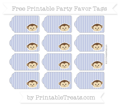 Free Pastel Dark Blue Thin Striped Pattern Boy Monkey Party Favor Tags