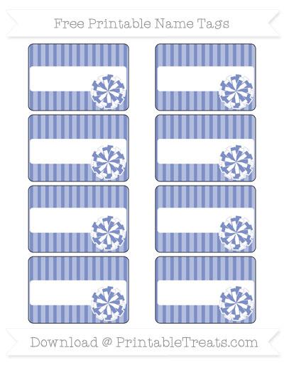 Free Pastel Dark Blue Thin Striped Pattern Cheer Pom Pom Tags