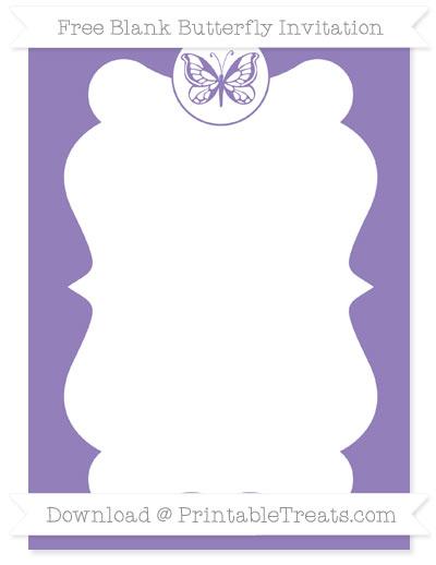 Free Pastel Dark Plum Blank Butterfly Invitation