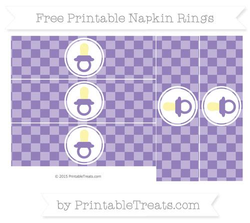 Free Pastel Dark Plum Checker Pattern Baby Pacifier Napkin Rings
