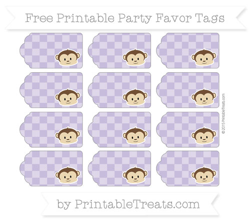 Free Pastel Dark Plum Checker Pattern Boy Monkey Party Favor Tags