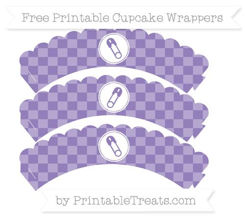 Free Pastel Dark Plum Checker Pattern Diaper Pin Scalloped Cupcake Wrappers