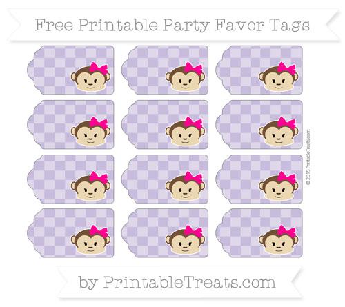 Free Pastel Dark Plum Checker Pattern Girl Monkey Party Favor Tags