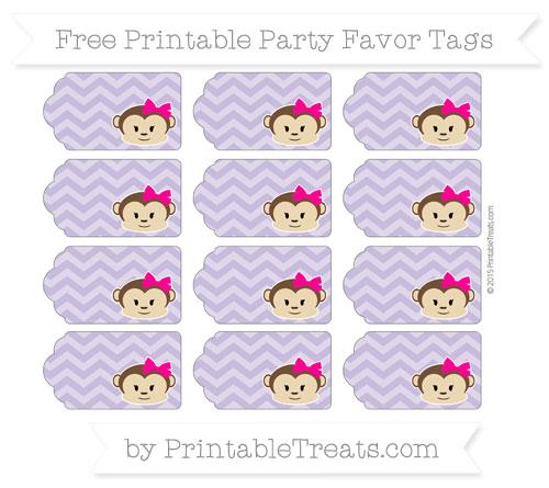 Free Pastel Dark Plum Chevron Girl Monkey Party Favor Tags