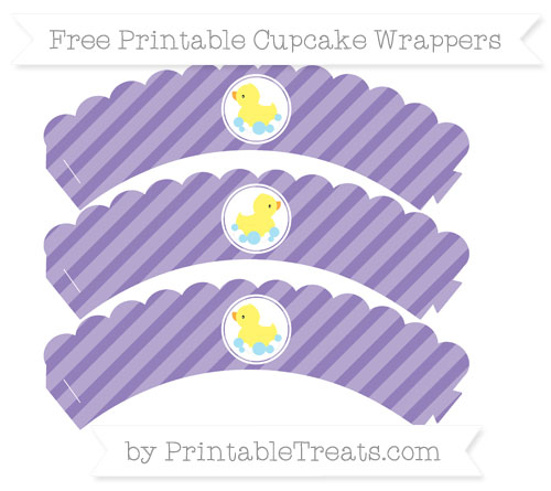 Free Pastel Dark Plum Diagonal Striped Baby Duck Scalloped Cupcake Wrappers