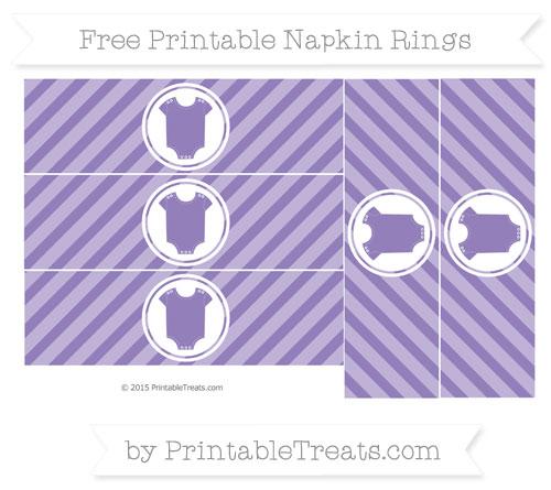 Free Pastel Dark Plum Diagonal Striped Baby Onesie Napkin Rings