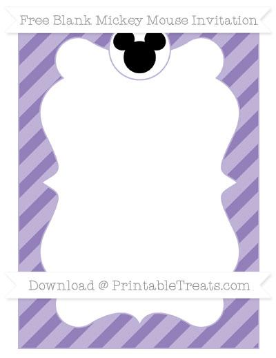Free Pastel Dark Plum Diagonal Striped Blank Mickey Mouse Invitation