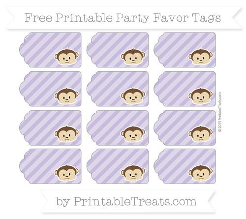 Free Pastel Dark Plum Diagonal Striped Boy Monkey Party Favor Tags
