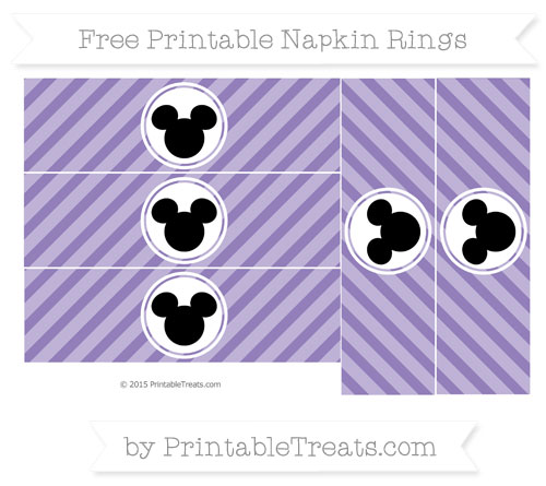 Free Pastel Dark Plum Diagonal Striped Mickey Mouse Napkin Rings