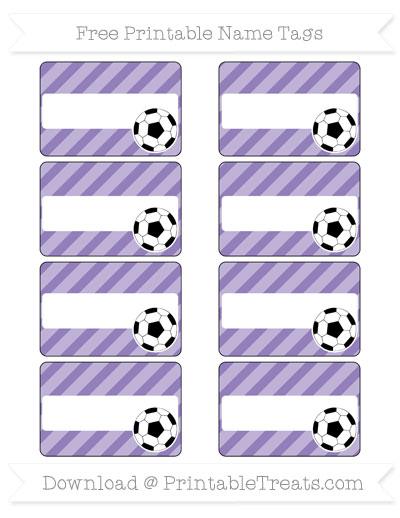 Free Pastel Dark Plum Diagonal Striped Soccer Name Tags