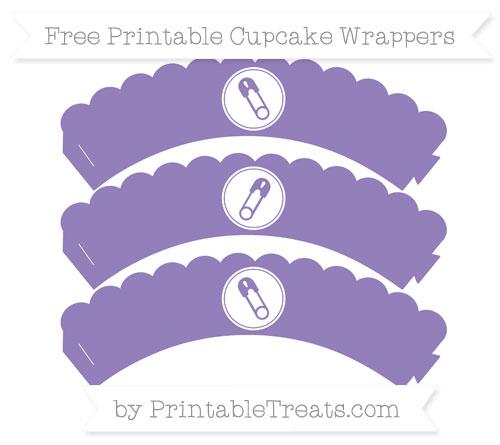 Free Pastel Dark Plum Diaper Pin Scalloped Cupcake Wrappers