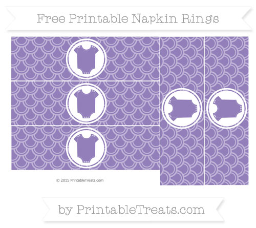 Free Pastel Dark Plum Fish Scale Pattern Baby Onesie Napkin Rings