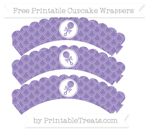 Free Pastel Dark Plum Fish Scale Pattern Baby Rattle Scalloped Cupcake Wrappers