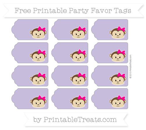 Free Pastel Dark Plum Girl Monkey Party Favor Tags