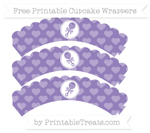 Free Pastel Dark Plum Heart Pattern Baby Rattle Scalloped Cupcake Wrappers