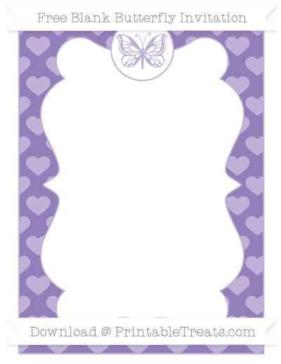 Free Pastel Dark Plum Heart Pattern Blank Butterfly Invitation