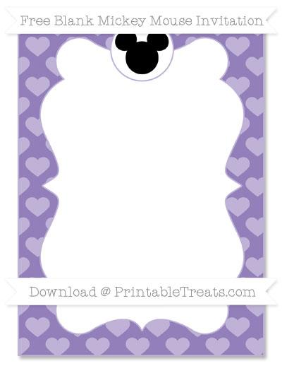 Free Pastel Dark Plum Heart Pattern Blank Mickey Mouse Invitation