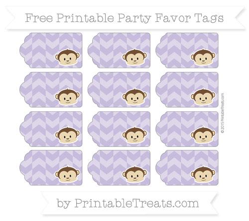Free Pastel Dark Plum Herringbone Pattern Boy Monkey Party Favor Tags