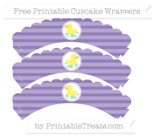 Free Pastel Dark Plum Horizontal Striped Baby Duck Scalloped Cupcake Wrappers