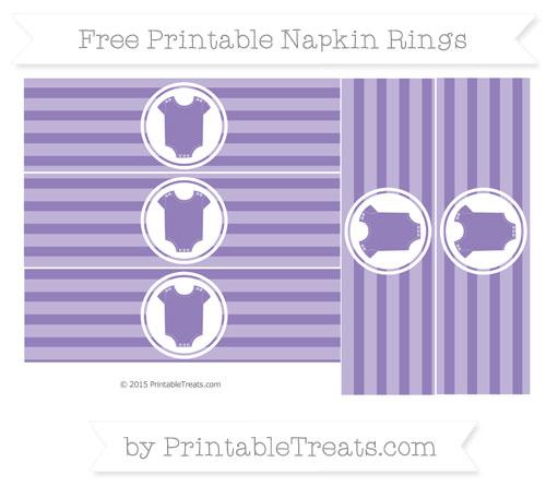 Free Pastel Dark Plum Horizontal Striped Baby Onesie Napkin Rings