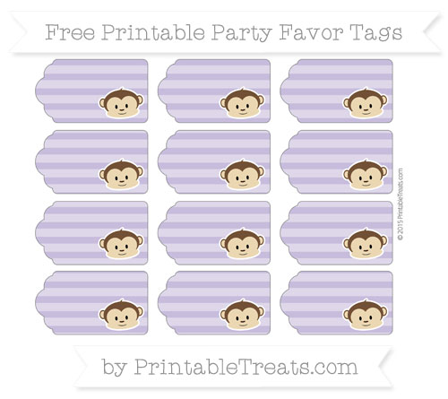 Free Pastel Dark Plum Horizontal Striped Boy Monkey Party Favor Tags