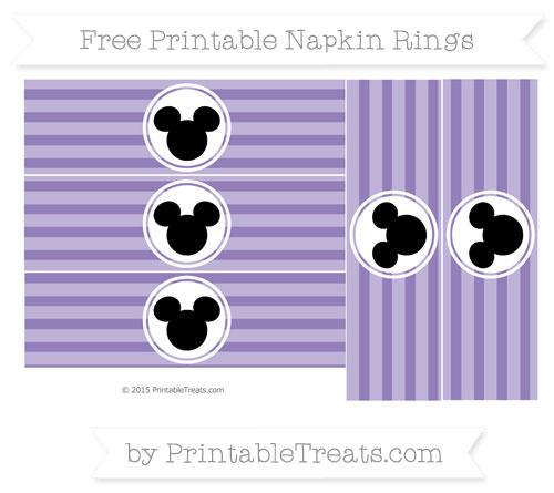 Free Pastel Dark Plum Horizontal Striped Mickey Mouse Napkin Rings