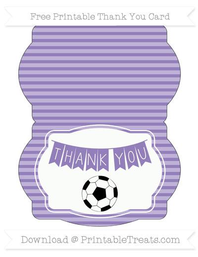 Free Pastel Dark Plum Horizontal Striped Soccer Thank You Card