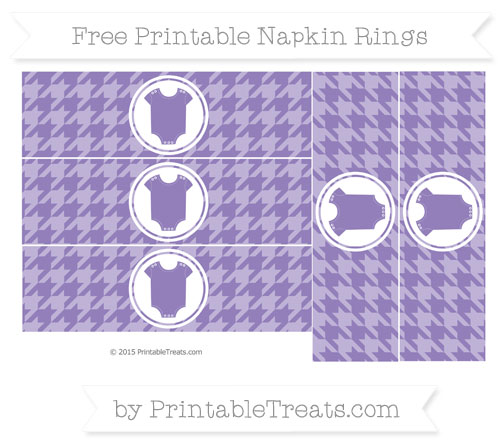 Free Pastel Dark Plum Houndstooth Pattern Baby Onesie Napkin Rings