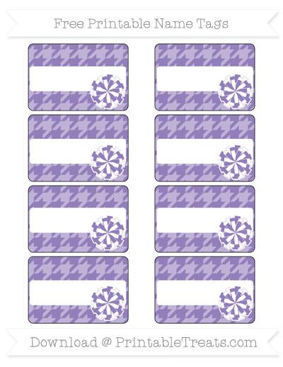 Free Pastel Dark Plum Houndstooth Pattern Cheer Pom Pom Tags