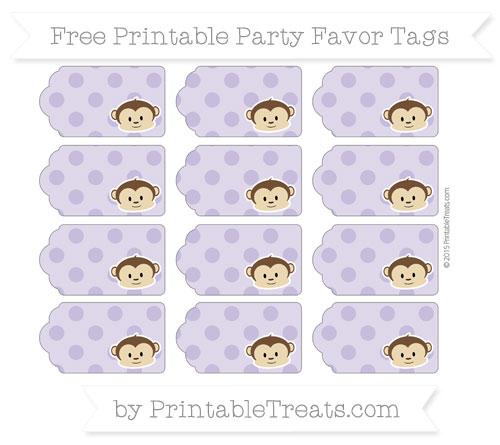 Free Pastel Dark Plum Polka Dot Boy Monkey Party Favor Tags